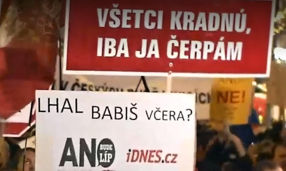 Na Václavském náměstí se protestovalo proti Andreji Babišovi