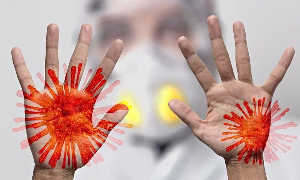 Koronavirus na materiálech